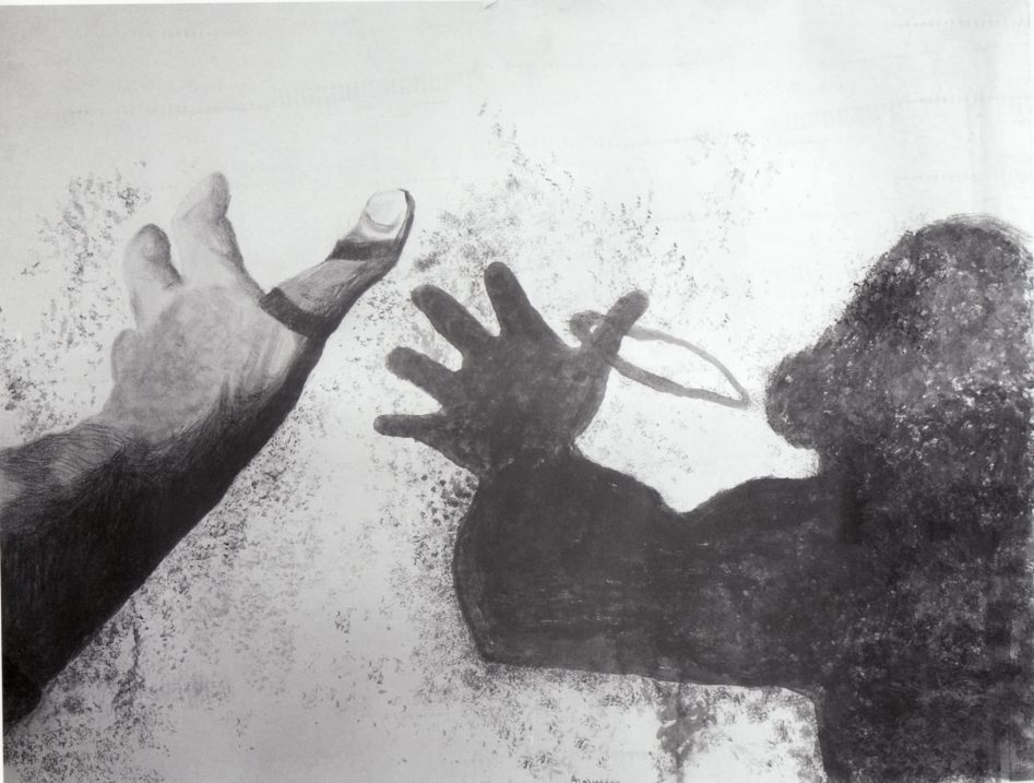 Άννα Παλιεράκη (1948-2014), Σκιά γυναίκας, χαρτί γκουάς, (2003)